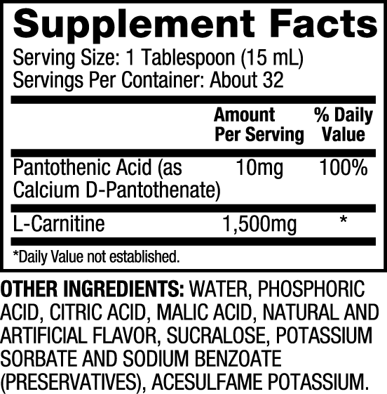 Dymatize L-Carnitine 1500mg label