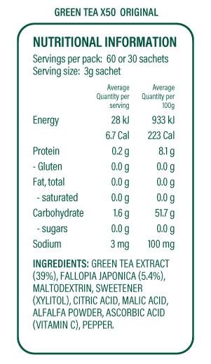 Green Tea X50 Original Nutritional Information