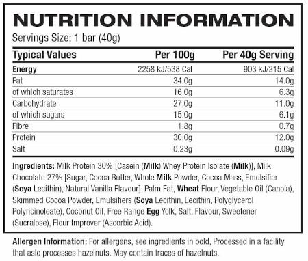 Novo Nutrition WaferBar label