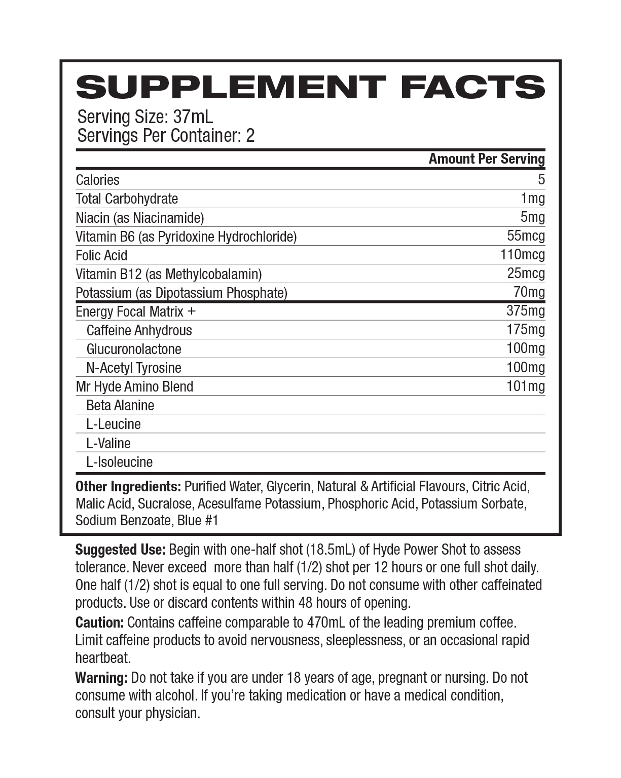 ProSupps Hyde Power Shot label