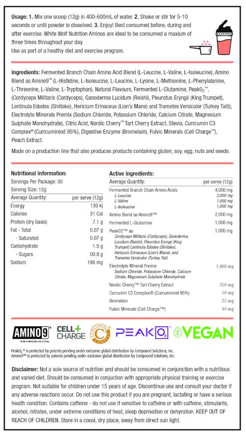 White Wolf Vegan aminos label