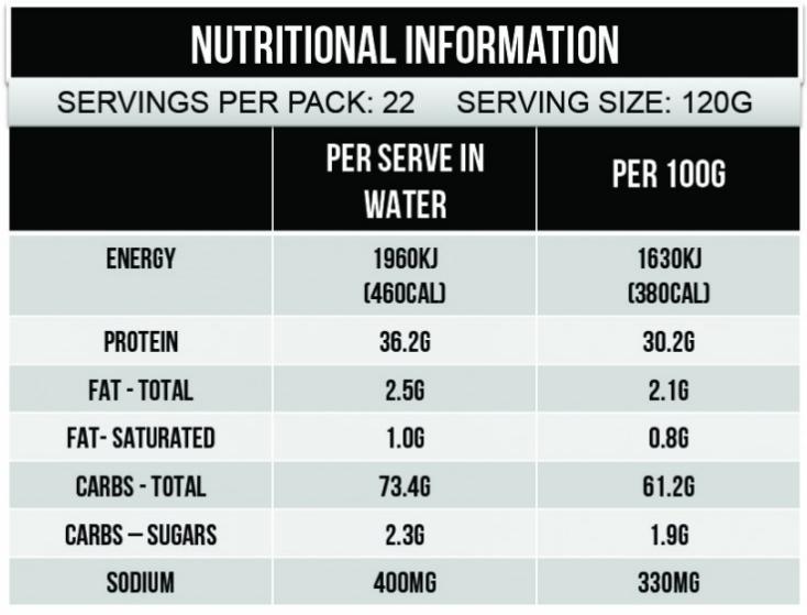 maxs clean mass 6lb nutrition facts