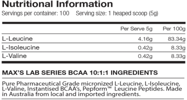 maxs bcaa label