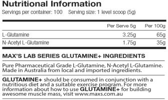 maxs glutamine label