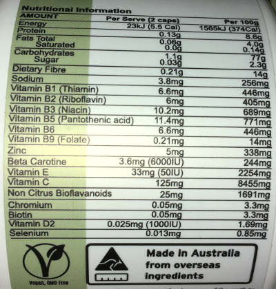 atp multifood label