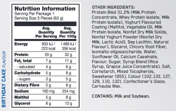 on protein cake bites label