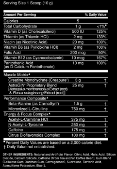 optimum pre workout label